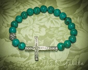 Sideways Cross Bracelet -- Rhinestone Silver Cross --  Turquoise Howlite