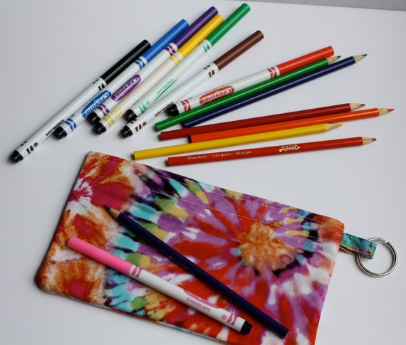 SALE   Pencil Electronic Gadgets Phone pouch with split key ring Tie Dye Christmas Stocking Stuffer