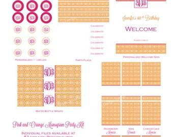 Pink and Orange Monogram Party Kit by Bloom