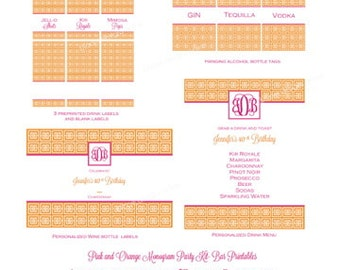 Pink and Orange Monogram Party Kit- Bar Printables by Bloom