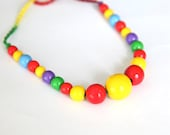 Colorful summer necklace for girls. Children's necklace with painted wooden beads. Sale -20%