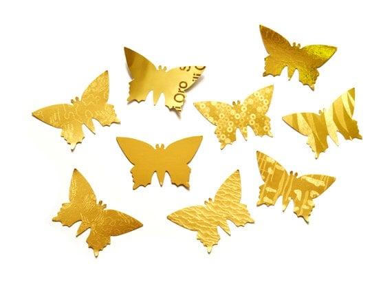 20 handpunched golden big butterflies