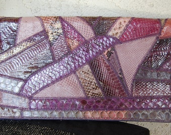 Vintage leather SNAKE SKIN  purse bag clutch shoulder bag flap style COLLAGE