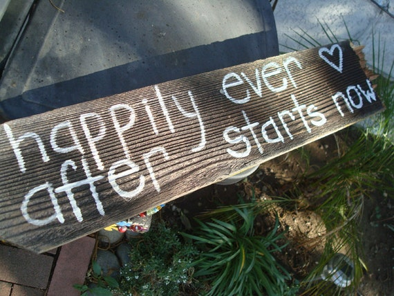 Happily Ever After Starts Now Wedding Sign Decoration Rustic Country Wedding Reception Garden white Reclaimed Winery Sale Beach Shabby Chic
