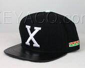 Custom Malcolm X Snapback, Black Lambskin