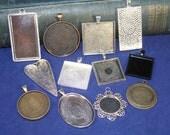 12 DIY Jewelry Making Pendant Assortment - sampler set of Various settings  (photo charms ) Great Starter Set
