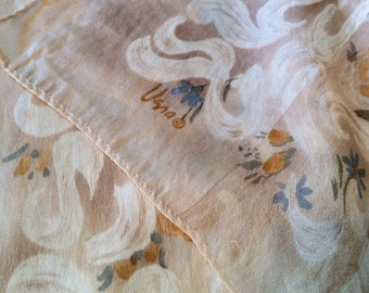 1980s Vintage Vera Neumann Ivory, Yellow and Blue Floral Pattern Silk Scarf