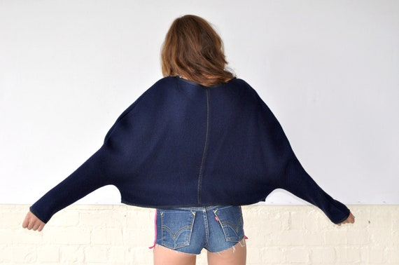 Sale 30% off....Oversized Cropped Navy Jumper