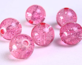 14mm Pink acrylic beads - Pink resin beads - Pink translucent beads with gold powder - 6 pieces (769) - Flat rate shipping