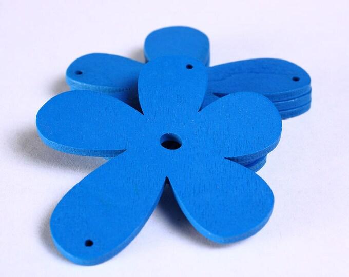 Sale Clearance 20% OFF - 4 blue flower wood pendant 57mm 4pcs (796)