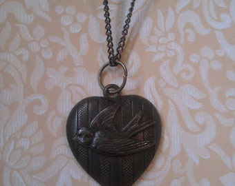 Heart and Bird Necklace