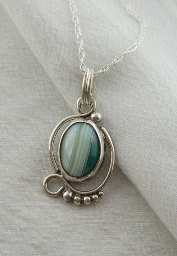Green Banded Agate Pendant in Sterling Silver, Artisan Jewelry, gifts for her, gifts for mom, for him, handmade jewelry, Christmas Gifts