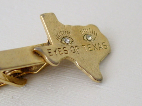 eyes of texas vintage tie clip / gold and rhinestone vintage tie bar