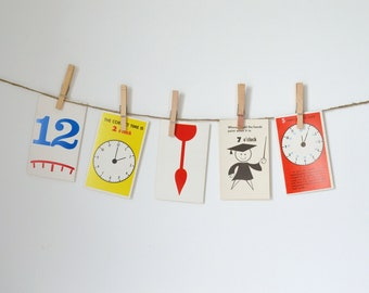 vintage flash cards set / paper ephemera / graphic numbers