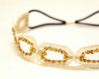 Gold Sequined & Beaded lace Elastic Headband