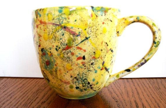 Vintage Ceramic Mug with Splatter Paint Pattern