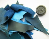 1 Lb bag of quality mixed weight leather scraps, Blue mixed