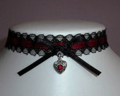Red Heart Choker Necklace Gothic Black Lace Valentine Collar Emo Burlesque