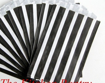 Party Favor Bags Black Stripe Pattern 5 x 7.5   Wedding, BIrthday Party Bags - last 17 bags