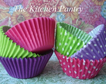 Cupcake Liners - Baking Cups  Girly  Fun Cupcake Liners in Pink, Lime and Purple -  Cupcake Liners 120 Standard