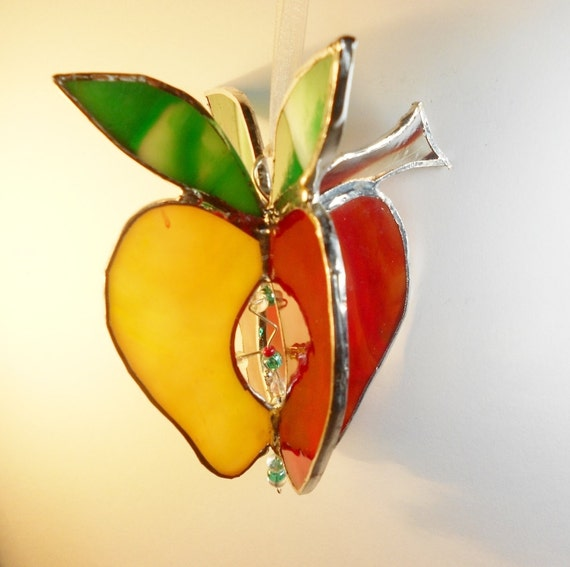 3D Yellow And Red Apple. Stained Glass.