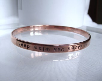 "Handmade Recycle Solid Copper Personalise Inspirational ""keep calm and carry on"" bracelet bangle"