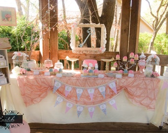 Tea Party - Girls Birthday Party - Shabby Chic - Vintage - PRINTABLE Personalized Party Package - With Photo Invitation