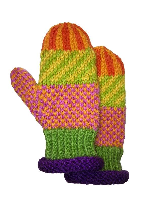 SALE Mittens-Children's-Hand knit-Icelandic design-Seamless Unique-original design-multi color-washable wool - OOAK - Ready to Ship