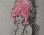 Original fashion illustration sketch whimsical Pink Hair beehive pretty girl woman
