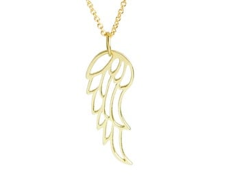 Solid 14K Gold Angel Wing Necklace with solid14k chain