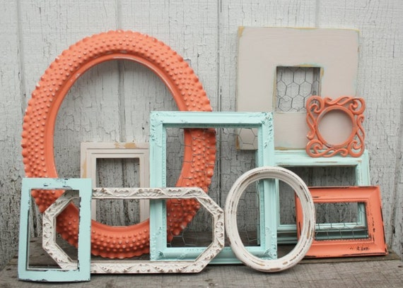 set of 10 open frames coral aqua antique white painted frames coral