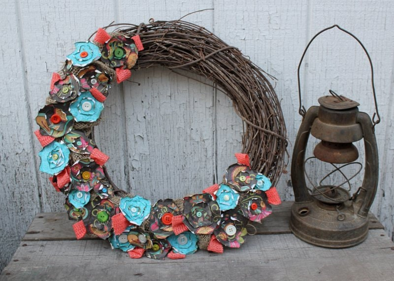 Coral And Turquoise Paper Flower Burlap Wreath Large