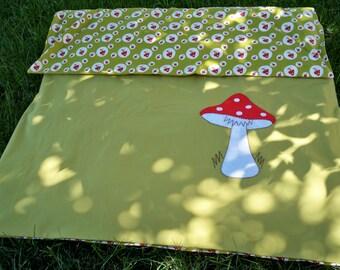 Toddler Duvet Cover, Nursery Bedding - Toadstool Applique - Designer Fabric, OOAK