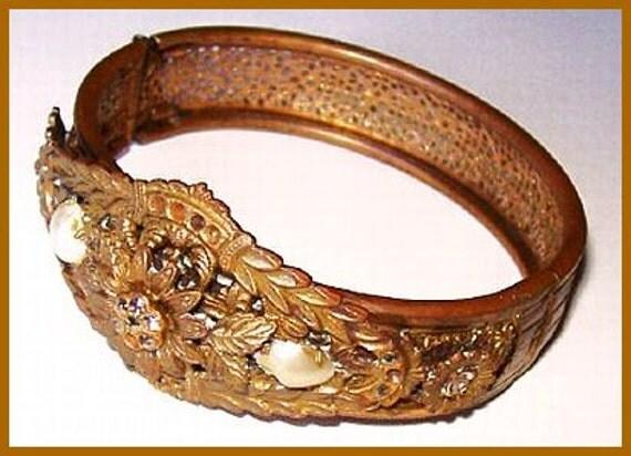 "Vintage Victorian Bracelet  Marcasite & Blister Pearl Brass Mesh Wire Work 1.5"" VG"