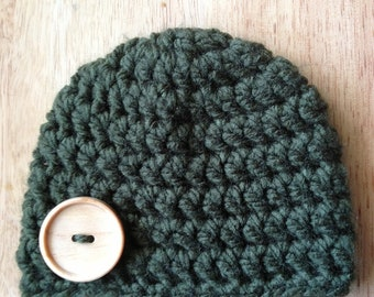 """Crochet CHUNKY YARN beanie hat w/ 1.5"""" wood button - 0-3mo size ready to ship - baby, toddler, child, teen & adult"""