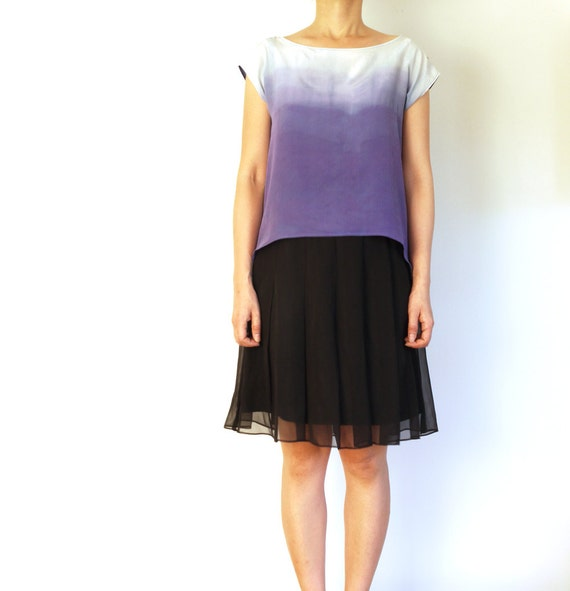 Snow Storm no. 2 - Ombre dip dyed Silk n Cotton top. Ready to ship sample.