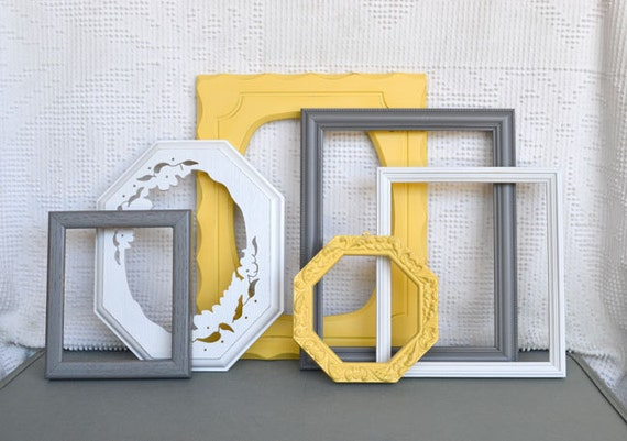 Yellow, Grey/Gray White Ornate Frames Set of 6 - Upcycled Frames Modern  Bedroom Decor