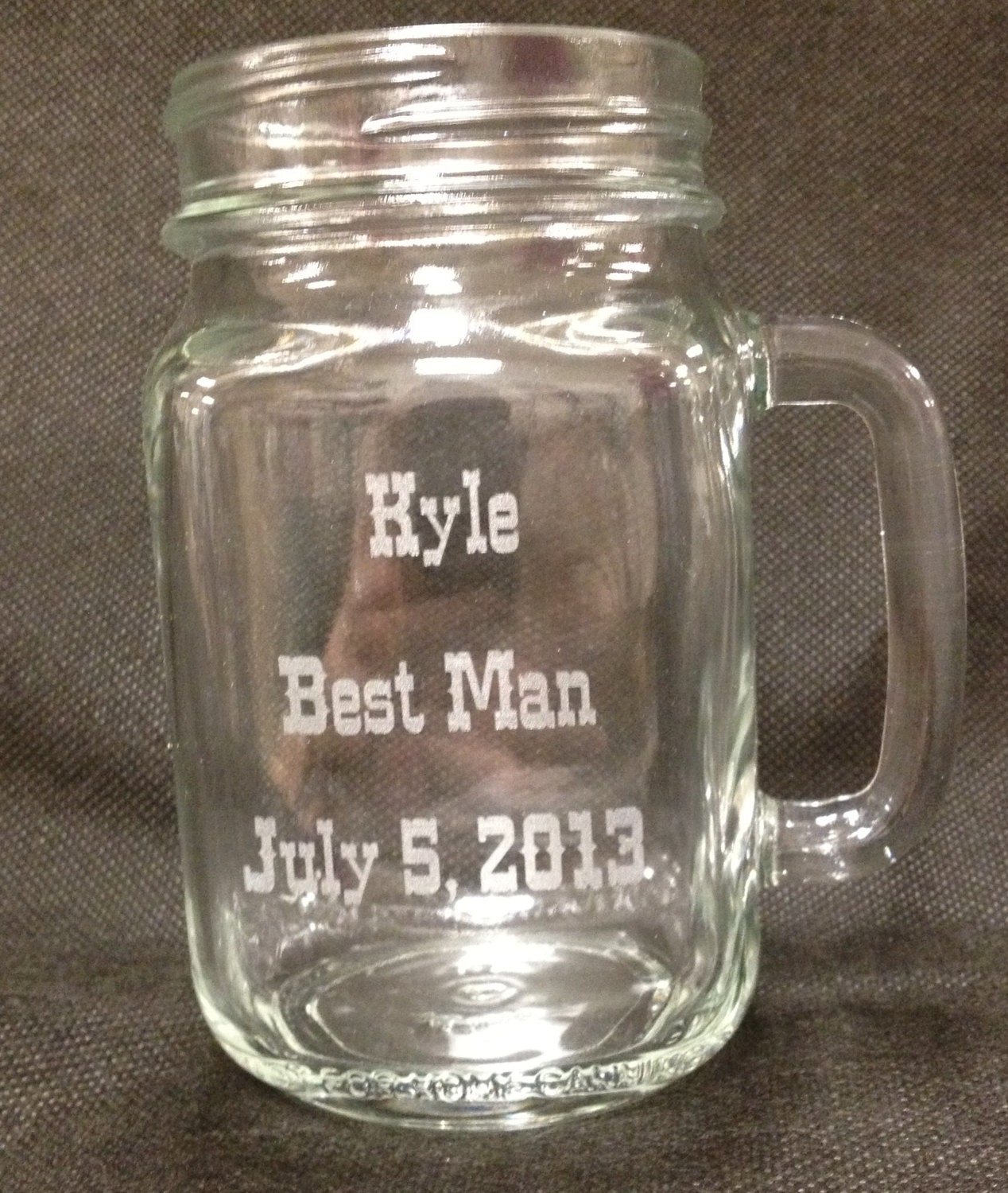 Engraved Wedding Mugs : Mason Jar Mugs Engraved Set of 4 Wedding Bride by LifeAStitch