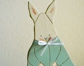 Adorable RABBIT Bunny Cottage Shabby Chic Painted Aqua Teal Spring Pastel Wood Cutout Decor Table Shelf Baby NURSERY