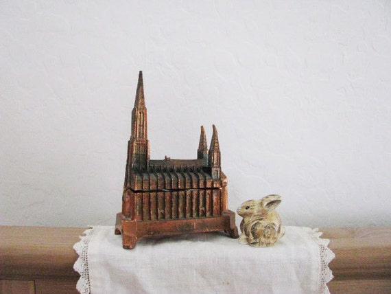 Vintage Church Box Jewelry BIRD Metal Brass Copper // GOTHIC Old World // Germany Souvenir // Cathedral // PATINA