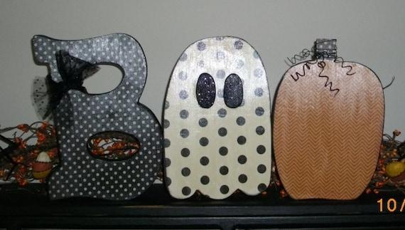 Primitive Halloween Wood Letters Boo Seasonal Holiday