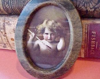 "Adorable Little Tinted ""Cupid Awake"" Print in Original Little Frame"