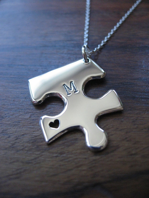 Personalised Silver Jigsaw Puzzle with Heart Pendant Necklace