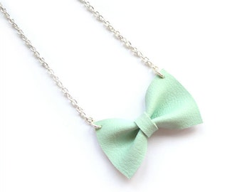 pastel MINT BOW NECKLACE