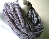 UNISEX. flecked navy blue Infinity scarf, cowl, chunky, knit fabric. WIDE.