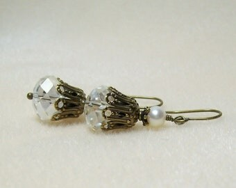 Crystal Earrings. Crystals and Freshwater Pearls. Crystal and Antiqued Brass.