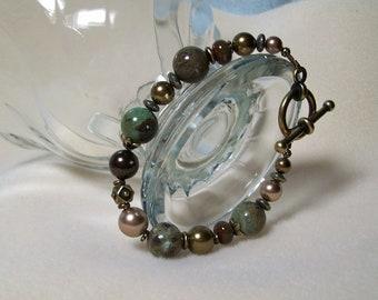 Snakeskin Jasper Bracelet. Green and Brass. Jasper and Pearls.