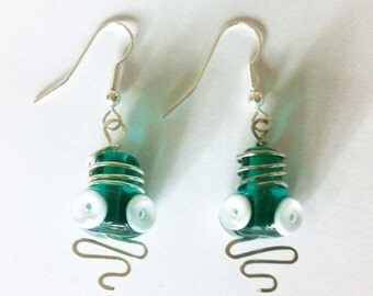 Wire Wrapped Teal Lampwork Earrings