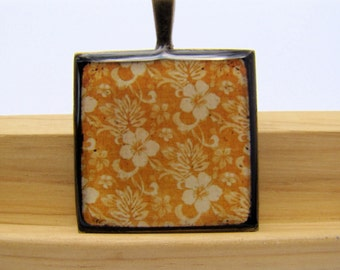 Resin Pendant, Orange Hawaiian Print, Tropical, White, Floral, For her, Antique Bronze, 1 inch, Square