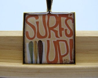 Resin Pendant, Surfs Up, Surboards, Orange, Beige, Green, Yellow, Brown, White, 1 inch, Square
